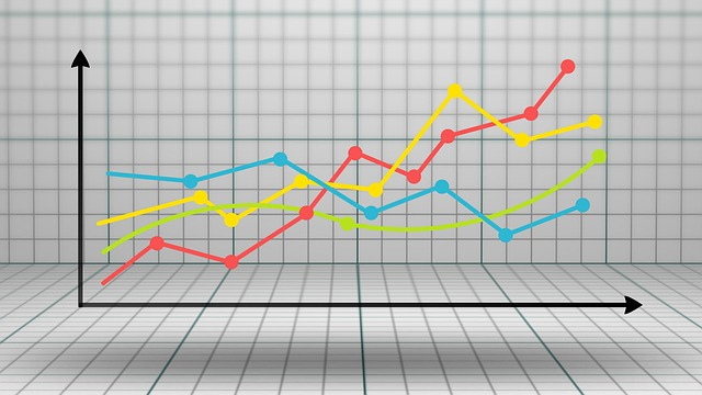 Line graph against 3D perspective background