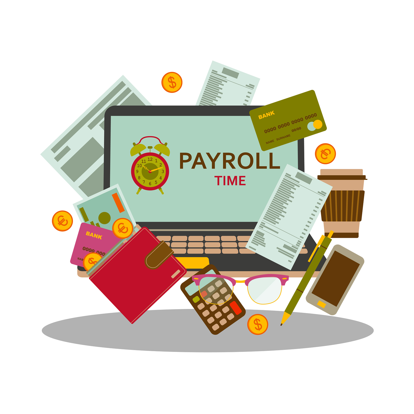 Graphic of nonprofit payroll materials